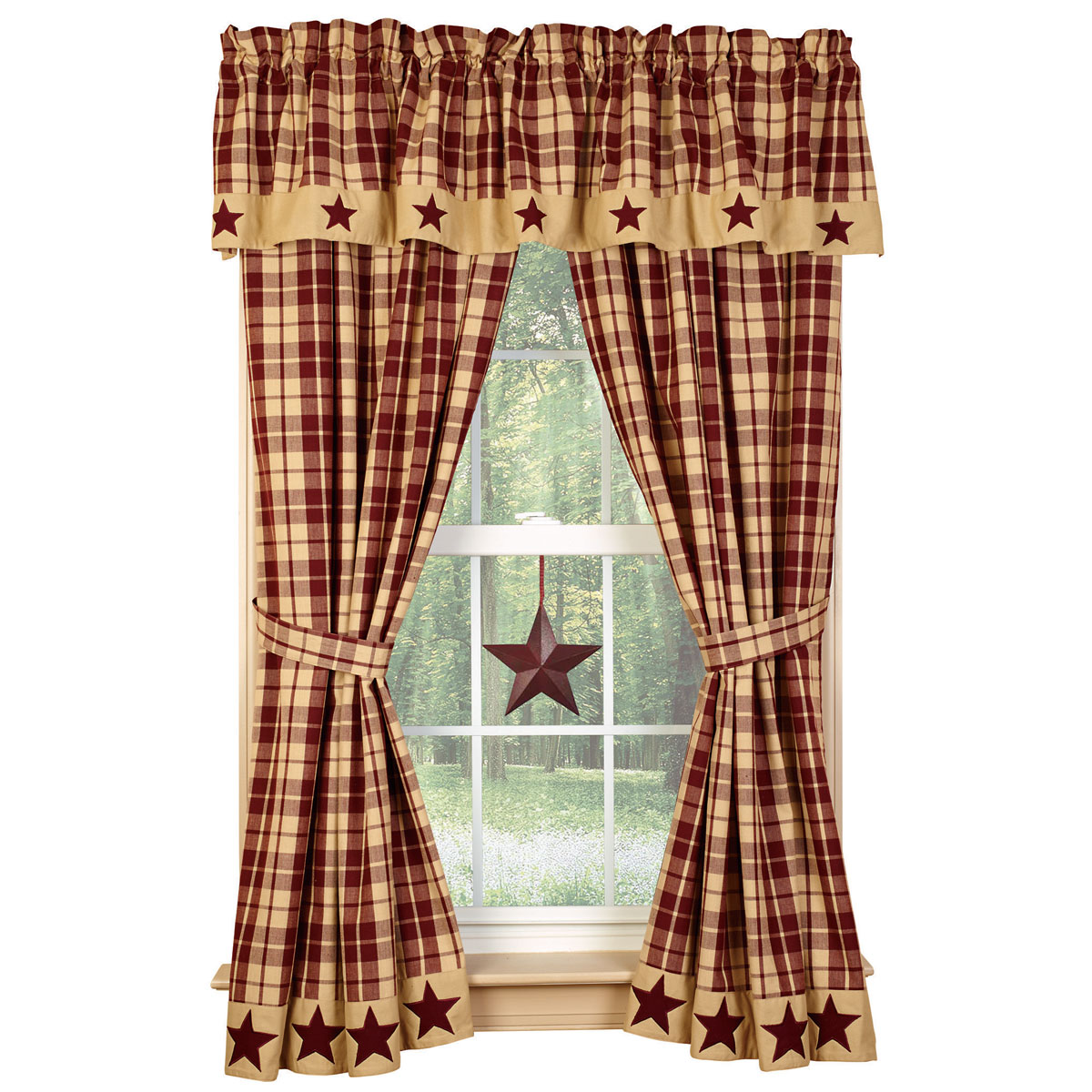 CHC 90588 Burgundy Farmhouse Star 63in Curtain Panels