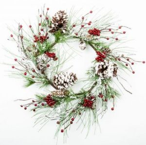 snow flocked mixed pine wreath