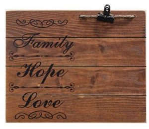 Family Hope Love photo board