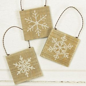 Burlap Snowflake tree ornament set
