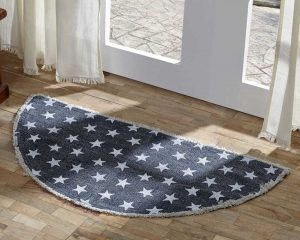 Half Circle Blue and White Star Rug