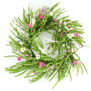 pink and cream forsythia floral wreath