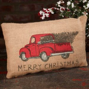 Burlap Red Truck Christmas Pillow