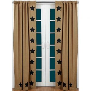 Burlap black star stenvil curtain panel