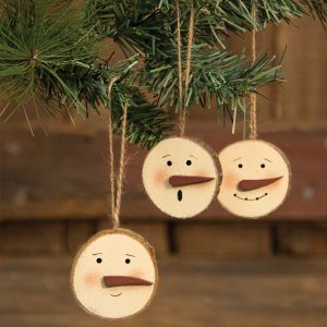 Snowman face tree ornaments