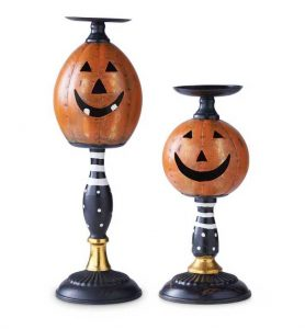 Jack O Lantern candle holder set