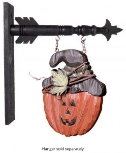 Jack O Lantern with twig wrapped hat