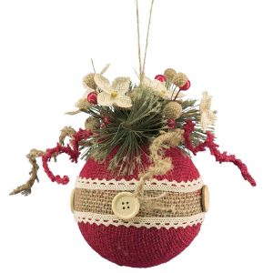Red Natural Stripe Burlap Tree Ornament