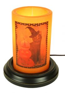 Black cat and pumpkin candle sleeve