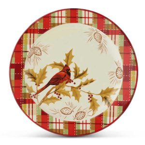 Ceramic and Plaid dinner plate