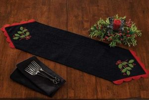Yuletide Holly felt table linens