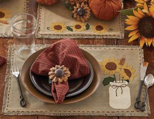 Sunflower Blooms table linens