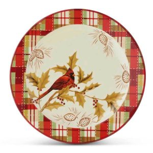 cardinal and plaid dinner plate