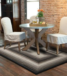 Black Mist Indoor Outdoor braided area rug