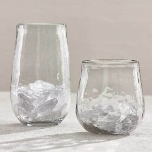 Textured beverage glasses