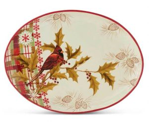 cardinal and plaid platter