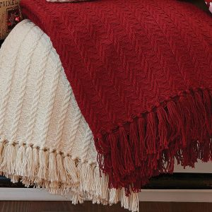 Cable knit throw blankets