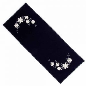 Snowflakes black table runner