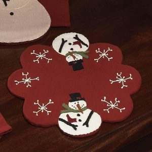 Snow Guy candle mat