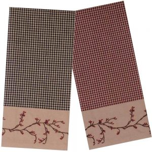 Berry Vine gingham kitchen towels