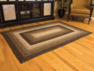 Black and Tan Stallion Jute Braided Rug
