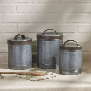 Galvanized farmhouse chic storage canisters