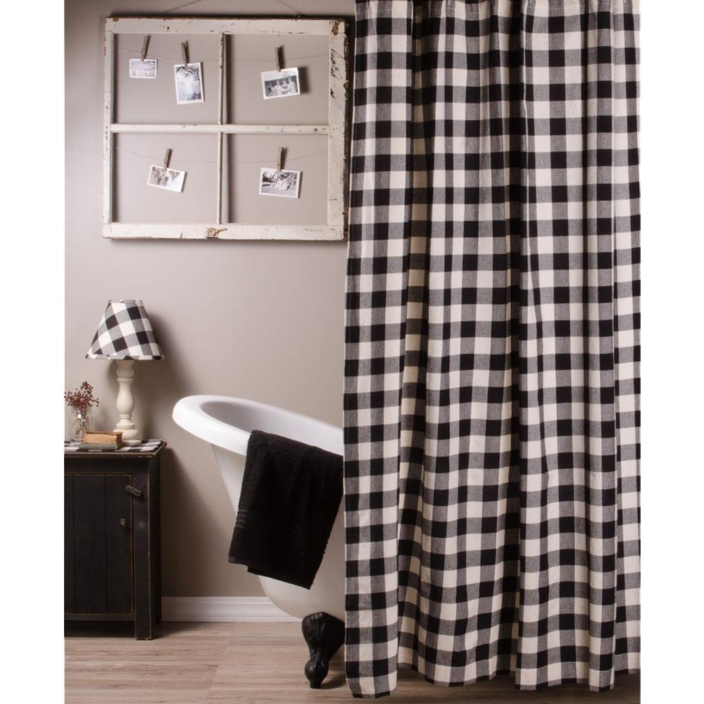 Black Buffalo Check shower curtain